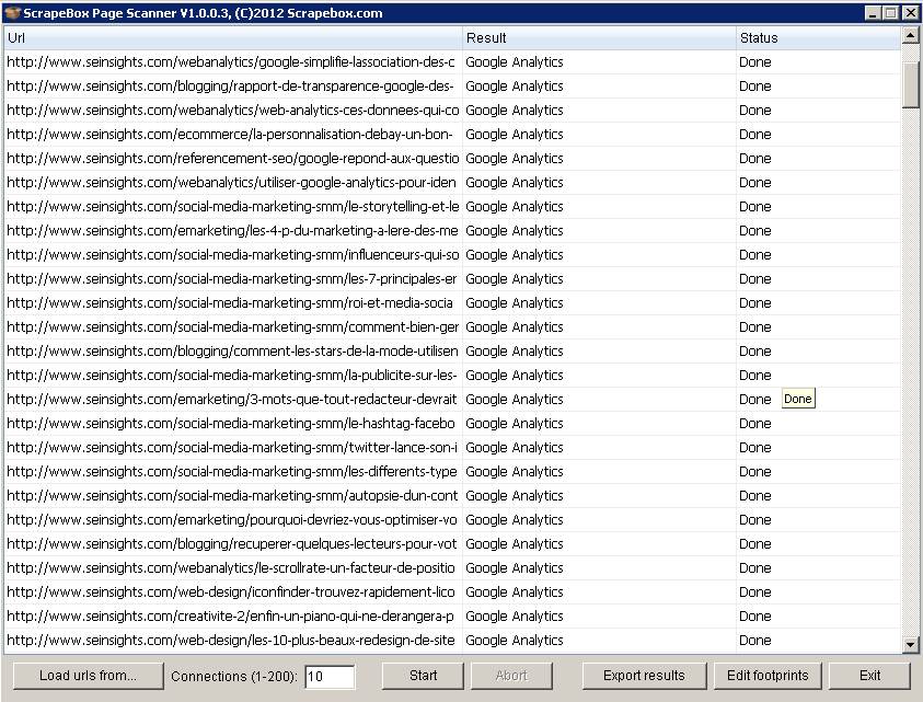 | Utiliser ScrapeBox pour vérifier l'implémentation du code Google Analytics