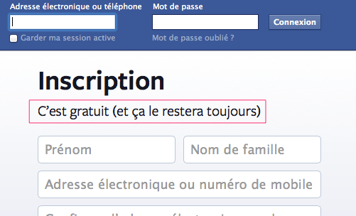 Formulaire d'inscription de Facebook