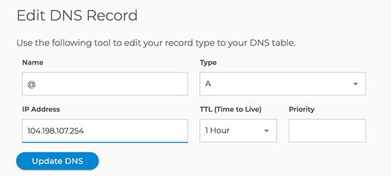 DNS de mise à jour WPEngine