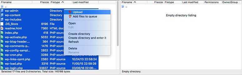 Utilisez le client FTP pour installer WordPress