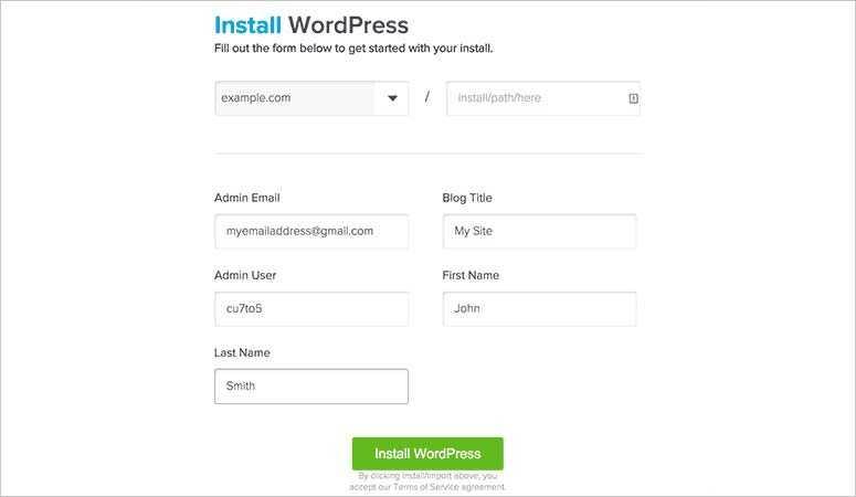 Installer WordPress dans QuickInstall