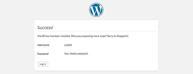 Installation réussie de WordPress