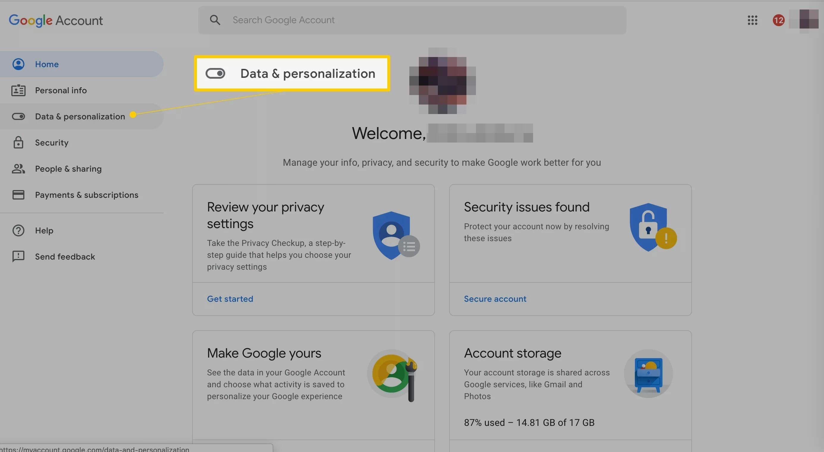 Onglet Données et personnalisation sur le site Web du compte Google
