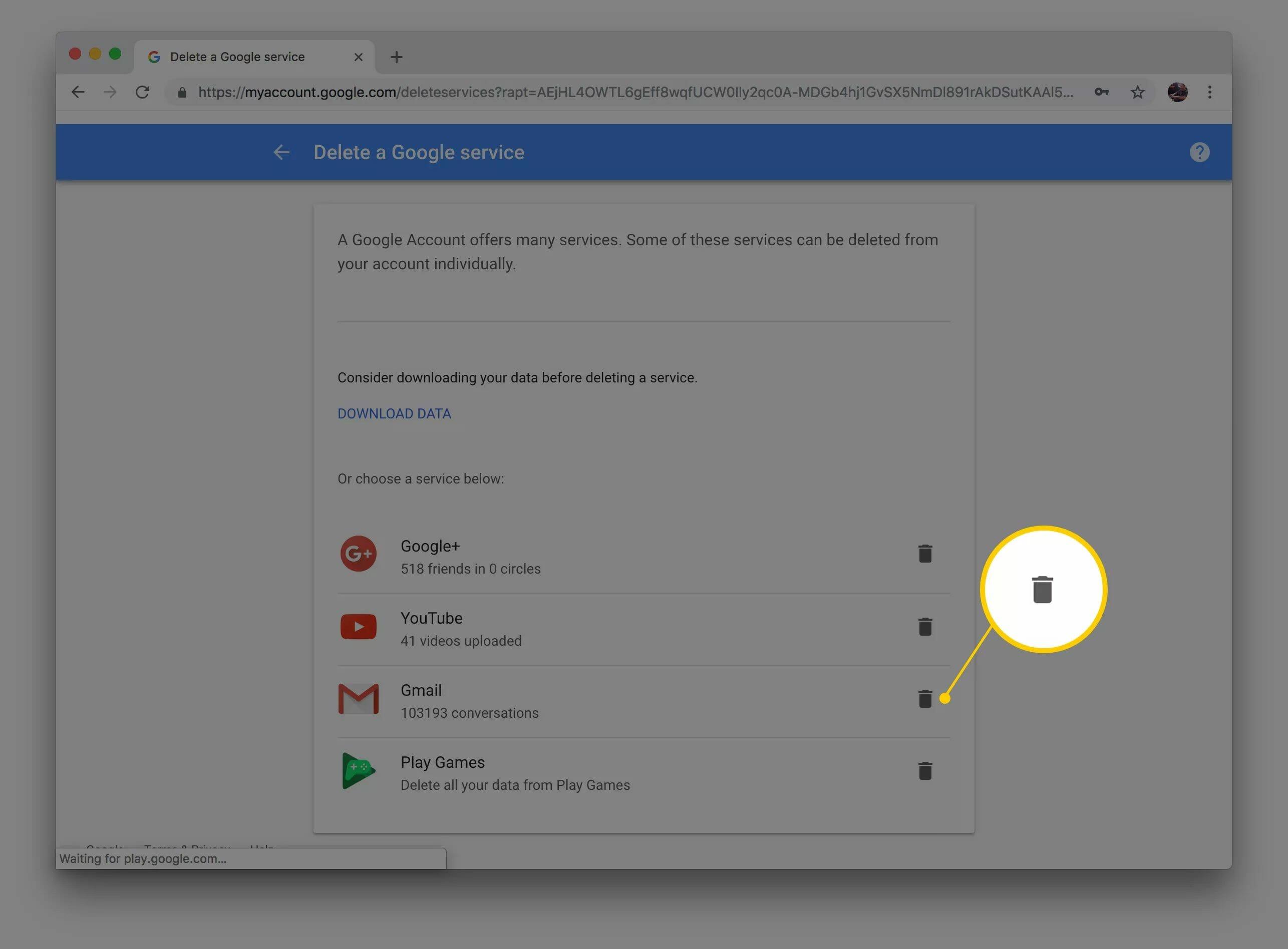 Capture d'écran de l'icône de la corbeille sur laquelle cliquer pour supprimer votre compte Gmail sur le site Web de Google