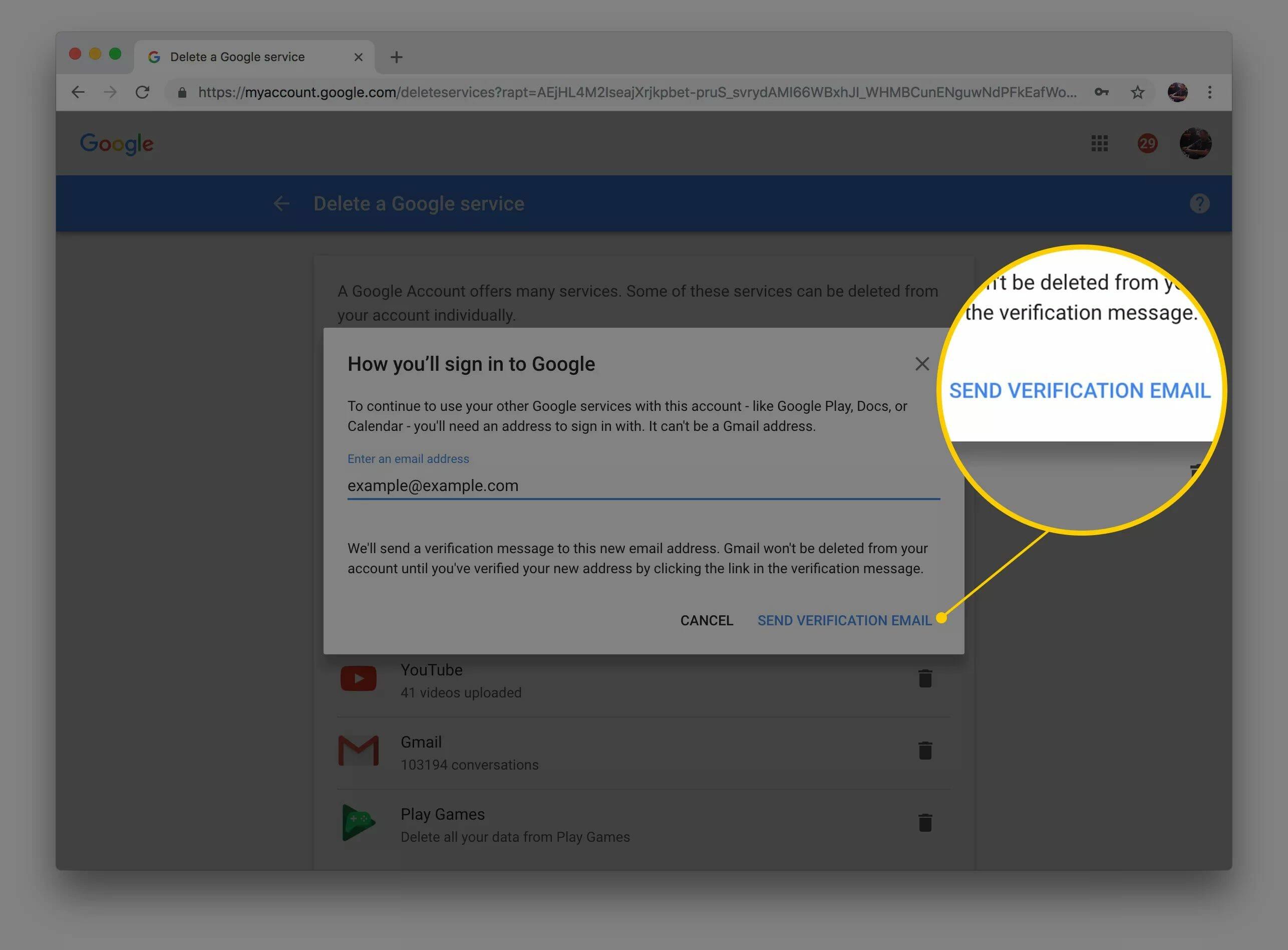 Capture d'écran de Envoyer un e-mail de vérification pour vous connecter à la boîte de dialogue Google sur le Web