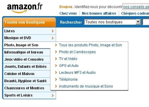 Exemple de navigation du site Amazon.fr