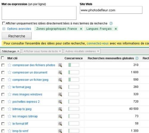 Analyse de la thématique d'un site avec Adwords